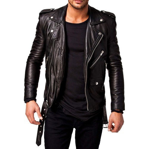 53f7dcaac Men's Black Moto Old Style Leather Jacket By Leather Rider