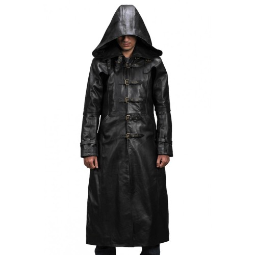 new style & luxury elegant shape the sale of shoes Leather Rider Men Huntsman Black Hooded Leather Trench Coat