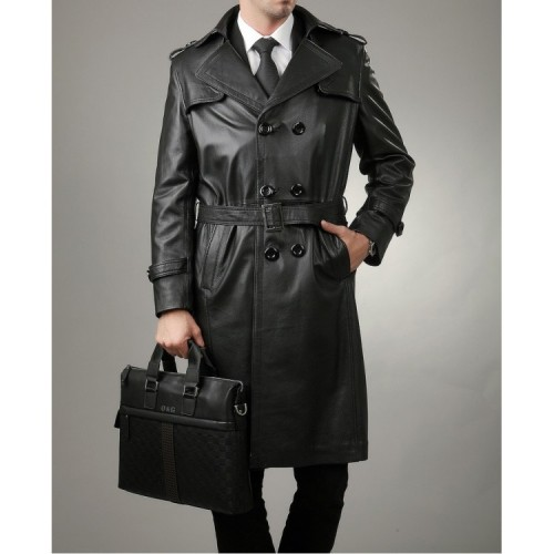 3310cdc3297 Leather Rider Men Full Length Leather Trench Coat