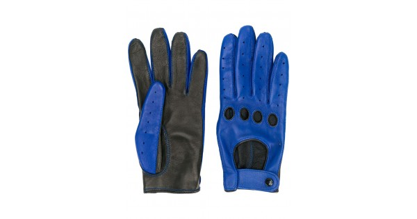 28b0fce7f071d Leather Rider Men & Women Blue And Black Lambskin Contrast Leather Gloves
