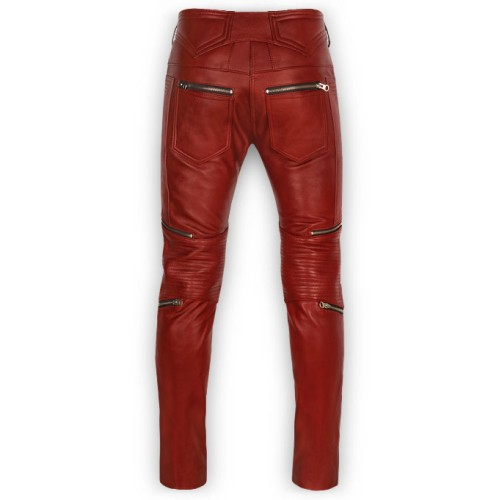 5ec696f7 Men's Cherry Red Zipper Style Moto Leather Pants By Leather Rider