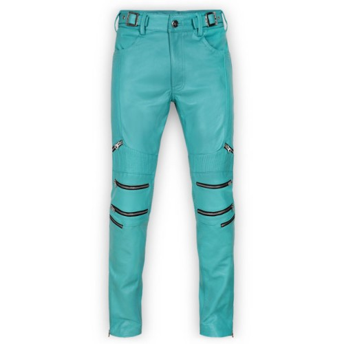 attractivefashion great variety models various kinds of Men's Bright Blue Zipper Biker Moto Leather Pants By Leather Rider