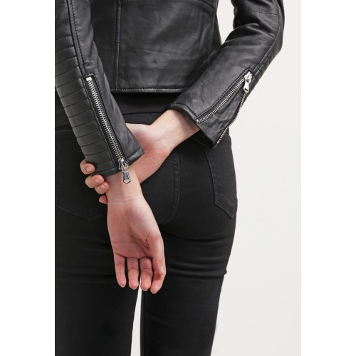 fbba2410 Leather Rider Style Black Motorcycle Leather Jacket For Girls