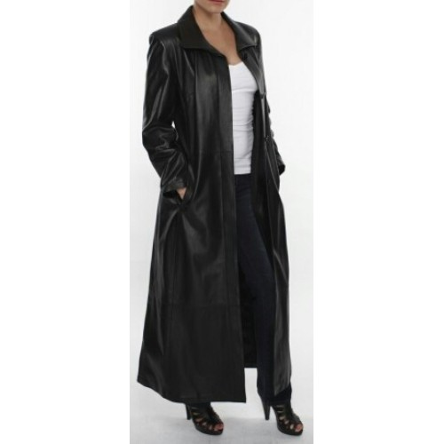 be58a5438f31 Leather Rider Ladies Black Full Length Superior Grade Long Leather ...