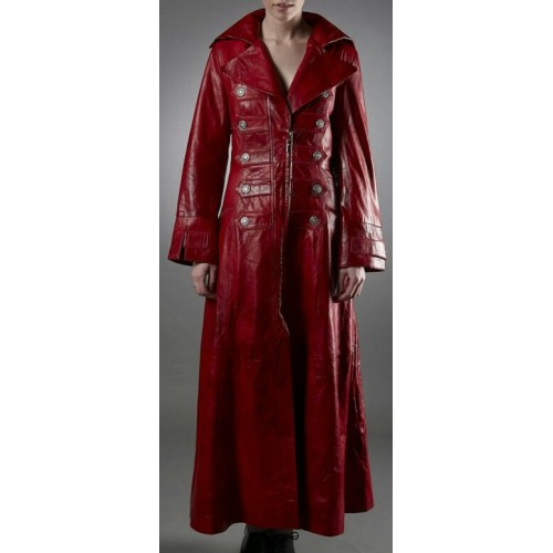 2019 authentic reasonably priced various colors Leather Rider Ladies Red Full Length Military Leather Coat