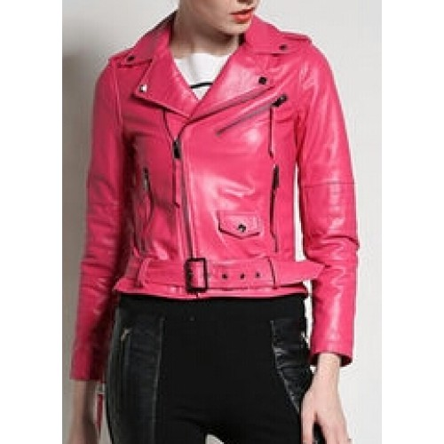 Buy Authentic attractive & durable 2019 clearance sale Women Pink Fashion Sheep Skin Moto Styles Leather Jacket