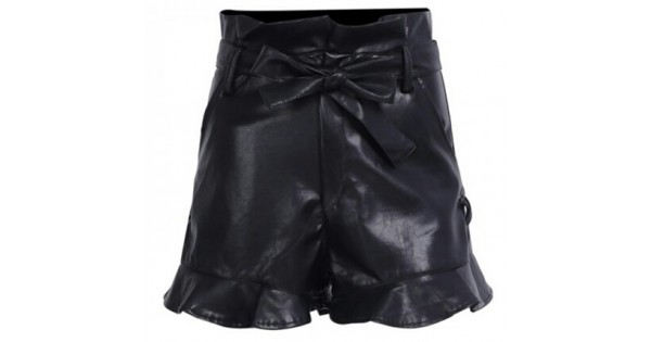 1852aa480141d Ladies Fashion Side Lace Up Black Leather Short By Leather Rider