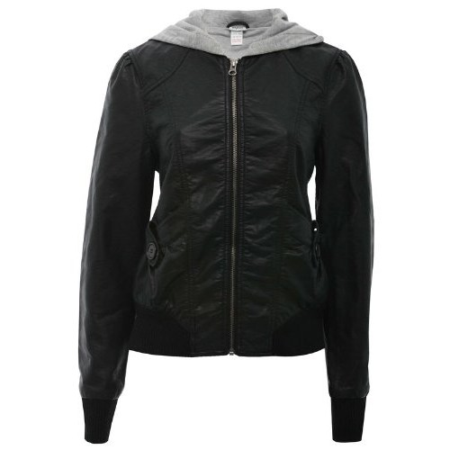 cheap for discount look out for great variety styles Leather Rider Ladies Handmade Black Leather Look Hooded Bomber Leather  Jacket