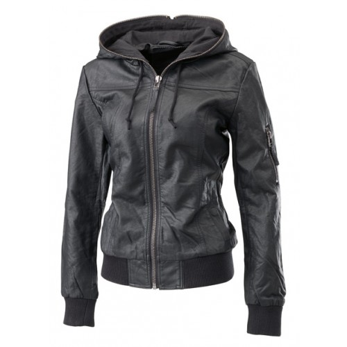 Leather Rider Bomber Black With Hooded Leather Jacket For Girls