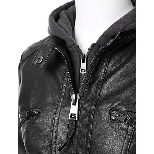 black leather jackets for women with hood priletaicom