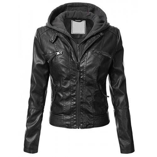 Leather Rider Women Black Lamb Skin Leather Jacket With Hooded