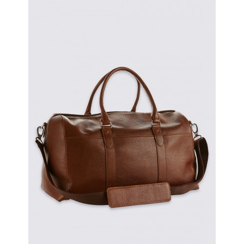 Leather Rider Cowhide Brown Leather Pebble Grain Leather Holdall c5061a8900a1c