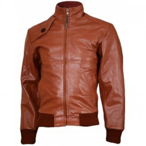 998bfaa27df Leather Rider Men s Bomber Ten Brown Leather Jacket