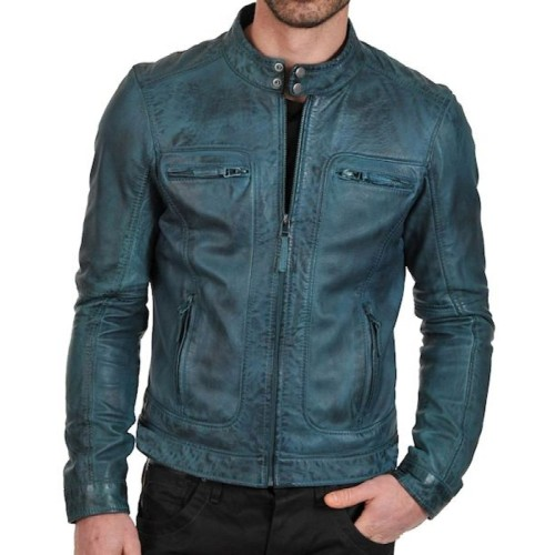 Leather Rider Men S Motorcycle Jacket Green Wax Leather Jacket