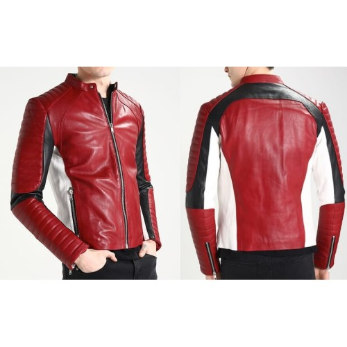 Leather Rider Men Red Brown And White Biker Style Jacket Motorbike