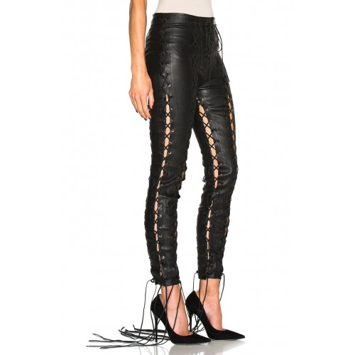90608454097a Leather Rider Black Nappa Lace Up Rond Female Trousers